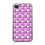 Purple plaid pattern Apple iPhone 4 Case (Clear)
