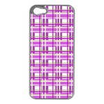 Purple plaid pattern Apple iPhone 5 Case (Silver)
