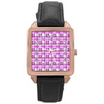 Purple plaid pattern Rose Gold Leather Watch