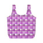 Purple plaid pattern Full Print Recycle Bags (M)