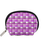 Purple plaid pattern Accessory Pouches (Small)