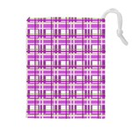 Purple plaid pattern Drawstring Pouches (Extra Large)