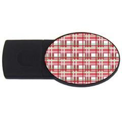 Red plaid pattern USB Flash Drive Oval (2 GB)  from ArtsNow.com Front