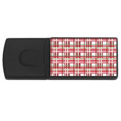 Red plaid pattern USB Flash Drive Rectangular (4 GB)  from ArtsNow.com Front