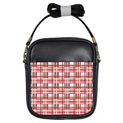 Red plaid pattern Girls Sling Bags from ArtsNow.com Front