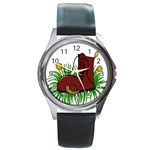 Boot in the grass Round Metal Watch