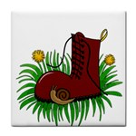 Boot in the grass Tile Coasters