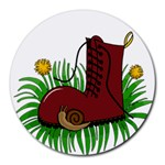 Boot in the grass Round Mousepads