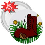 Boot in the grass 3  Buttons (100 pack)