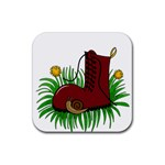 Boot in the grass Rubber Square Coaster (4 pack)