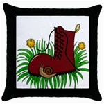 Boot in the grass Throw Pillow Case (Black)