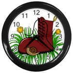 Boot in the grass Wall Clocks (Black)