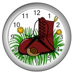 Boot in the grass Wall Clocks (Silver)