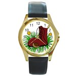 Boot in the grass Round Gold Metal Watch