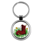 Boot in the grass Key Chains (Round)