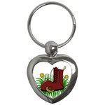 Boot in the grass Key Chains (Heart)