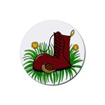 Boot in the grass Rubber Coaster (Round)