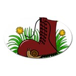 Boot in the grass Oval Magnet