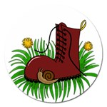 Boot in the grass Magnet 5  (Round)
