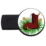 Boot in the grass USB Flash Drive Round (2 GB)