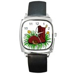 Boot in the grass Square Metal Watch