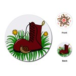 Boot in the grass Playing Cards (Round)