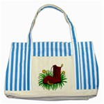 Boot in the grass Striped Blue Tote Bag
