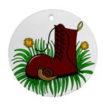 Boot in the grass Round Ornament (Two Sides)