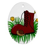 Boot in the grass Oval Ornament (Two Sides)