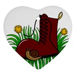 Boot in the grass Heart Ornament (2 Sides)