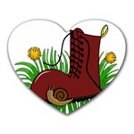 Boot in the grass Heart Mousepads
