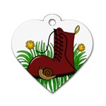 Boot in the grass Dog Tag Heart (Two Sides)
