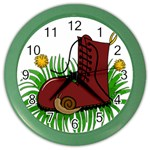 Boot in the grass Color Wall Clocks