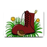 Boot in the grass Small Doormat