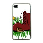 Boot in the grass Apple iPhone 4 Case (Clear)
