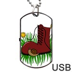 Boot in the grass Dog Tag USB Flash (One Side)