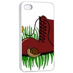 Boot in the grass Apple iPhone 4/4s Seamless Case (White)