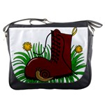 Boot in the grass Messenger Bags
