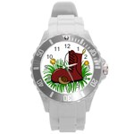 Boot in the grass Round Plastic Sport Watch (L)