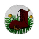 Boot in the grass Standard 15  Premium Round Cushions