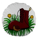 Boot in the grass Large 18  Premium Round Cushions