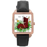 Boot in the grass Rose Gold Leather Watch