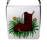 Boot in the grass Flap Messenger Bag (L)