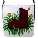 Boot in the grass Flap Messenger Bag (S)