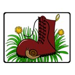 Boot in the grass Double Sided Fleece Blanket (Small)