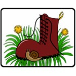 Boot in the grass Double Sided Fleece Blanket (Medium)