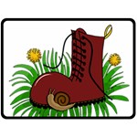 Boot in the grass Double Sided Fleece Blanket (Large)