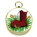Boot in the grass Gold Compasses
