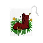Boot in the grass Drawstring Pouches (Medium)