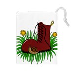 Boot in the grass Drawstring Pouches (Large)